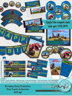 Dino Trucks Inspired Printable Party Collection Package