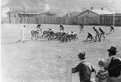 1938 Football Game, Hazard Bulldogs vs. Corbin (Redhounds).  Hazard wearing the stripes.  Alais Ball Park
