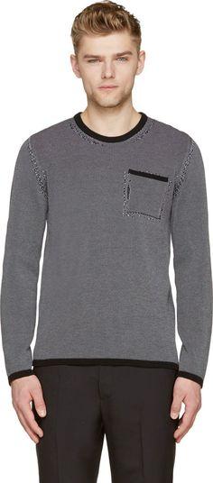 MAISON MARGIELA Black & Grey Knit Chevron Sweater. #maisonmargiela #cloth #sweater