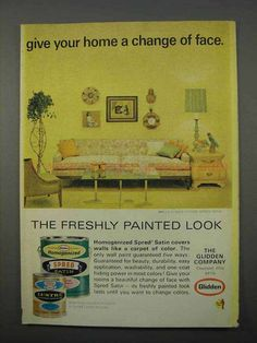 1966 Glidden Spred Satin Paint Ad - Change of Face-This is a 1966 ad for a Glidden Spred Satin Paint! The size of the ad is approximately The caption for this ad is 'Give your home a change of face' The ad is in great condition. 1960s Interior Design, Face P, Vintage Ads, Conditioner, Satin, Change, Painting, Painting Art, Paintings