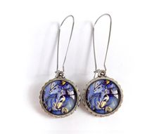 Blue horses dangle earrings cabochon picture long drop by BakGuri