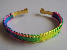 DIY Como hacer Pulsera de macrame con alambre plano multicolor fluor. Bracelet fluor wire. - YouTube
