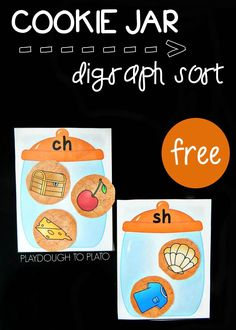 Fun cookie jar digraph sort! Great literacy center idea or guided reading activity for kindergarten or first grade.