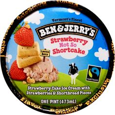 Ben & Jerry's Strawberry Not So Shortcake™ Ice Cream, 2015 - Available, Pint, Limited Batch, Walmart Exclusive. Strawberry Cake Ice Cream with Strawberries & Shortbread Pieces.