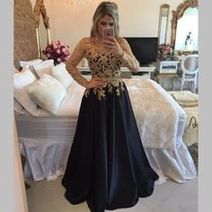 Long Sleeve Black Prom Dresses With Gold Sequins,A Line Black Satin Pageant Prom Dresses, Jewel Neck Black Gala Dresses Plus Size 2017