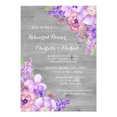 Grey Wood Purple Lavender Floral Rehearsal Dinner Card