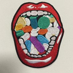 Mouth O' Pillszzz Patch! patches are finally here! get your WCNYC? original Mouth O' Pills patch ** All items are one of a kind and hand made. They may vary in elements, or garments. Cute Patches, Pin And Patches, Iron On Patches, Jacket Patches, Diy Patches, Tumblr Stickers, Cool Stickers, Do It Yourself Fashion, Stickers