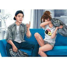 Finally finished the second BTS fanart series! Here's BTS with girlfriend aaaannnd… um… a couch. Hope you all enjoy it as much as the . J-hope, Bangtan Boys BTS Bts Jimin, Bts Bangtan Boy, Suga Suga, Jimin Fanart, Kpop Fanart, Foto Bts, Yoonmin, K Pop, Bts Girlfriends