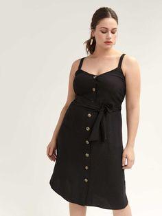 Shop online for Button-Front Dress with Self-Sash - L&L. Find Sale, and more at AdditionElle Addition Elle, Dress Outfits, Dress Up, Fashion Outfits, Button Front Dress, Sash, Plus Size Outfits, Looks Great, Cold Shoulder Dress