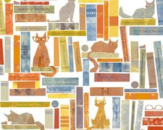 Smarty Cats - Cats and Books by Maria Carluccio from Windham Fabrics