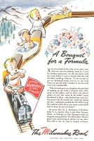 1945 Milwaukee Road Railroad Ad - Letter from Mrs. H.L. Buchanan, Art by Pony - A Bouquet for a Formula. As my daughter is the wife of an army man who was moved suddenly from Ft. Lewis for futher maneuvers, we did not know until the week before I was to return that she and the baby would go with me. It was too late to get an additional berth, but as we are both short, we put the baby's basket at our feet and were very comfortable.