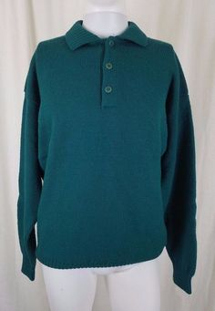 c3b25960 Vintage Men's LL Bean 100% Wool Knit Collared Polo Pullover Sweater L Tall  USA #