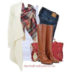 """Plaid scarf, Draped cardigan & Riding boots"""