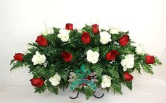 XL Red & White Roses Silk Flower Cemetery Tombstone Saddle Arrangement. by Crazyboutdeco on Etsy