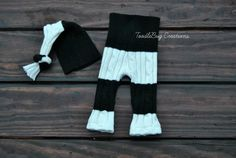 Newborn Photography Prop  Upcycled Black and White Striped Set by ToodleBugCreations, $22.35