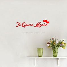 Spanish Quotes I Love You So Much Wall Stickers Te Quiero Mucho Art Lettering Vinyl Mural Decals for Living Room Bedroom
