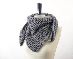 Merino Wool Triangle Lace Knit Scarf in Soft by tortillagirl, €65.00