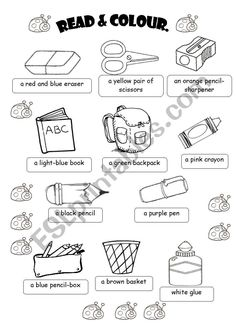English worksheets clroom objects english worksheets clroom objects pen pencil paper etc school objects coloring page school printable school supplies coloring pages coloring tone English Primary School, Teaching English, English Worksheets For Kids, English Activities, Vocabulary Worksheets, Coloring Worksheets, Teaching Skills, Classroom Language, Classroom Crafts