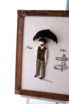 Fiber Art Hand Embroidery Invention Art Umbrella Man by Waterrose, $580.00