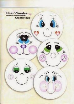Adorable ideas for faces of dolls, drawings, animated characters, etc. & perfect to paint on your Halloween pumpkin! Doll Eyes, Doll Face, Tole Painting, Painting & Drawing, Bjd Doll, Cartoon Eyes, Snowman Faces, Snowmen, Snowman Crafts