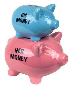 Look at this #zulilyfind! Blue & Pink Ceramic Double Piggy Bank by Sagebrook Home #zulilyfinds