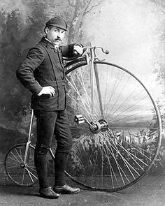 """Earliest Bicycle; more specifically, a high wheel bicycle, sometimes called a penny-farthing. In its heyday from the 1870s to 1880s, this bike ruled the world's mostly deserted roads (no cars back then - just horses & wagons), becoming so popular that it was also called the """"Ordinary."""""""