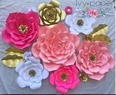 12pc Assorted Sizes Paper Flowers Set Backdrop by IvyandPaper