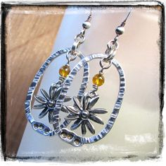 Sunny Daisies One of a Kind Fine Silver Textured Fine Silver and Sterling Oval Hoop Earrings by Nathalie Lesage of CanadianRockiesArt.com, CAD$49.00