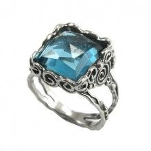 Silver Ring with Syn Bluetopaz