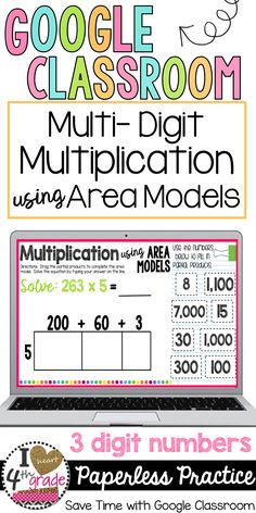 Google Classroom Elementary | Google Classroom Ideas | Multiplication 4th grade | Multiplication using Area Models | Looking for a way to practice multiplication using area models? This paperless set of Digital Task Cards for Google Classroom features 2 sets of practice. ($)