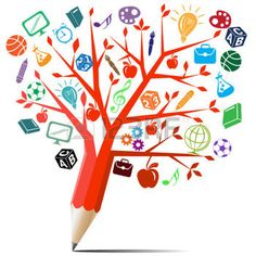 education: Red apple tree pencil with back to school concept