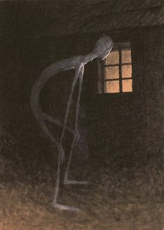 Jaroslav Panuška, Death Looking into the Window of One Dying, 1900. watercolour, white paint, paper, 46x35. NG, Prague. Urban, Otto M. In Morbid Colours: Art and the Idea of Decadence in the Bohemian Lands 1880-1914. Arbor Vitae, 2006, p. 370.
