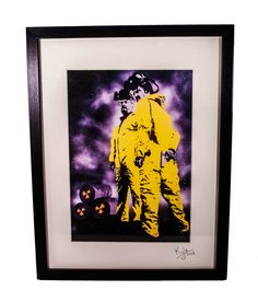 Breaking Bad Heisenberg. High quality canvas print including mount & frame. This unique pop art has been taken from an original acrylic on canvas painting by Kyle Maclennan. Printed onto 100% cotton art canvas. Print measures 29.7cm x 21cm (A4 size) Includes chunky stylish black frame with cardboard mount and glass front. Frame measures 42cm x 32 cm x 3.5cm. signed and dated by the artist.