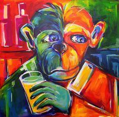 kölsche Begegnung mit Affe, Acryl 80 x 80cm auf LW