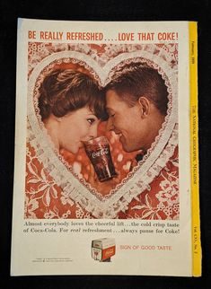 Coca-Cola Love That Coke Vintage Advertisement | Etsy Vintage Coca Cola, Coca Cola Ad, Coke Ad, Valentines Day History, Valentines Day Hearts, Vintage Valentines, Great Anniversary Gifts, Photo Print, Max Factor