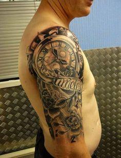 Amazing Half Sleeve Clock #Tattoo for Men by www.coolmantattoos.com