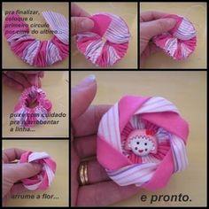 !!!!♥ Feltro-Aholic ♥ Moldes e pap em feltro e feltro estampado!: Flor de fuxico diferente- Passo a passo