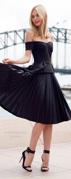 Tuula by Jessica Stein - ASOS Top with Off Shoulder & Pleated Peplum http://rstyle.me/n/txyqnr5i6 - and -  LOVER Pleated Silk-Satin Maxi Skirt http://rstyle.me/n/txyn6r5i6 ____________ Photos by Jayden Stein