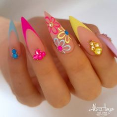 We collected 30 stiletto nail art designs for you when you attend a party. The nails included unique,classy,pink,purple, French Nail Designs, Acrylic Nail Designs, Nail Art Designs, Nails Design, Unique Nail Designs, Classy Nail Designs, Best Acrylic Nails, Summer Acrylic Nails, Summer French Nails