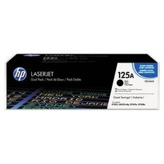 GENUINE HP 125A (CB540AD) Black Toner Cartridge Twin pack, 2,200 Page Yield. It consists of 2 HP CB540A Toners.