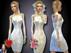 SIMSCREATIONS13's Short Wedding Dress Set 1
