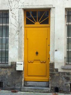 Yellow Door  Belgium, Brussels  July 2012 Front Door Entrance, Yellow Doors, Store Fronts, Brussels, Knock Knock, Old And New, Gates, Belgium, Tall Cabinet Storage