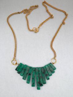 Green Jasper Cleopatra Style Necklace. on Etsy, $16.00
