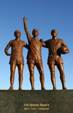 The Manchester United Trinity statue - George Best, Denis Law & Sir Bobby Charlton Manchester United Legends, Manchester United Players, Manchester United Old Trafford, British Football, Best Football Team, Man United, Denis Law, Bobby Charlton, European Cup