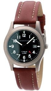 Momentum Men's 1M-SP50B3 Pathfinder Black Dial Brown Nautica Leather Watch Momentum. $185.00. Sports watch. Matte-finish. Water-resistant to 330 feet (100 M). Date feature, screw crown. Alarm watch with snooze, solid titanium, luminous dial
