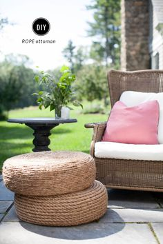 Like it? Share it! This has to be theprettiest use for an old tire ever in the history of tires. This DIY rope ottoman makes for the perfect resting spot foryour sunroom, patio or summer get-together. Literally all you need is rope, a tire, a few simple tools and time. Here is how to make one! Materials An old tire (check your local junkyard or auto shop if you don't have one lying around!) Sisal rope (about 150′ of 3/8″ thick rope, or 100′ of 1″ thick rope) 50′ of 3/8″ nylon rope Hot…