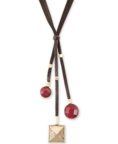 Lucky Brand Gold-Tone Red Bead Leather Pendant Necklace