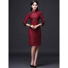Midi Winter Qipao Cheongsam Dress with Long Sleeves ($119) ❤ liked on Polyvore featuring dresses, midi dress, calf length dresses, long sleeve mid calf dresses, long sleeve dress and mid calf dresses