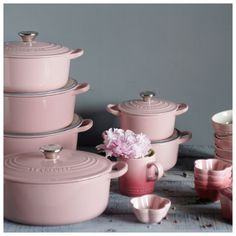The Le Creuset Oasis Collection .I want Pink Le Creuset! Love this cookware! Cocotte Le Creuset, Le Creuset Cookware, Tout Rose, Pastel Kitchen, Pink Kitchen Decor, Cocinas Kitchen, Pink Houses, Everything Pink, Kitchen Essentials
