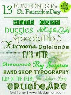 Fun fonts for St. Patrick's Day! perfect for craft projects - and most are free!
